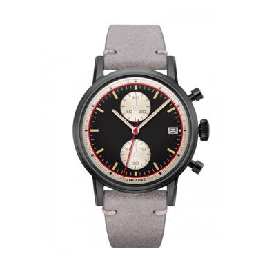 UNDONE URBAN Auta メカクォーツ 腕時計 【ブラック PVD コーティング カーフレザー ライトグレー】