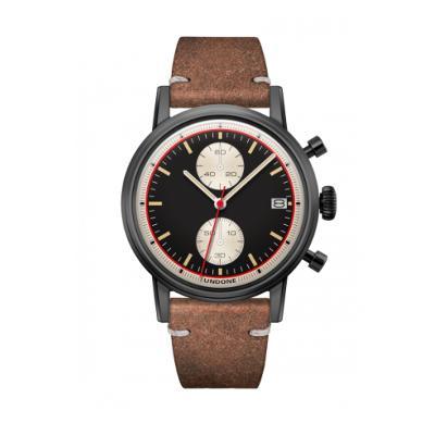 UNDONE URBAN Auta メカクォーツ 腕時計 【ブラック PVD コーティング カーフレザー ヴィンテージ ブラウン】
