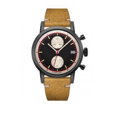 UNDONE URBAN Auta メカクォーツ 腕時計 【ブラック PVD コーティング カーフレザー ヴィンテージイエロー】