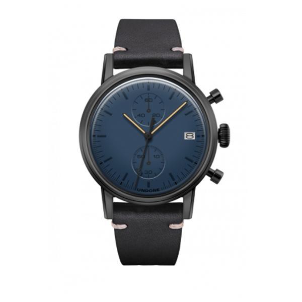 UNDONE MODERN BLUE メカクォーツ腕時計 【ブラックPVD コーティング カーフレザーベルト ブラック】