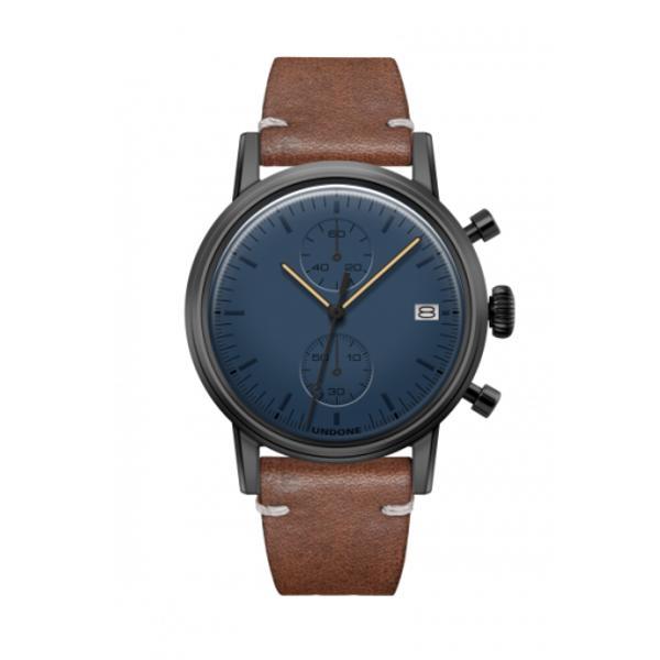 UNDONE MODERN BLUE メカクォーツ腕時計 【ブラックPVD コーティング カーフレザーベルト ブラウン】