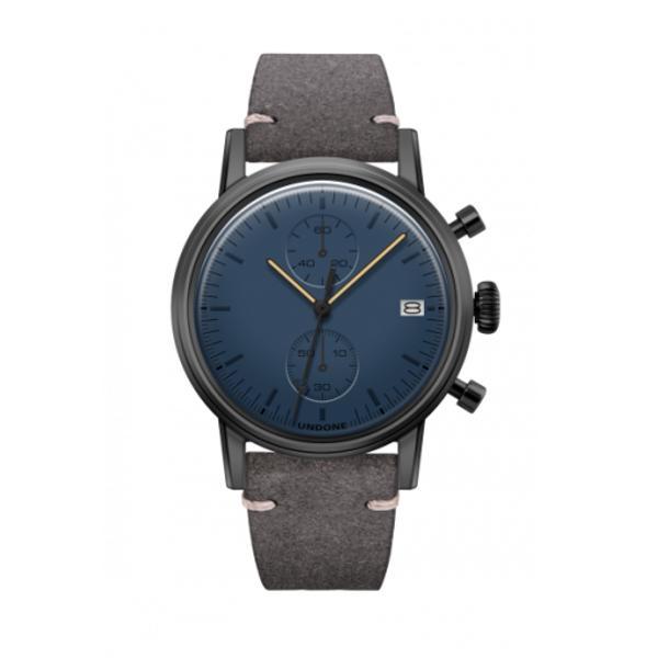UNDONE MODERN BLUE メカクォーツ腕時計 【ブラックPVD コーティング カーフレザーベルト グレー】