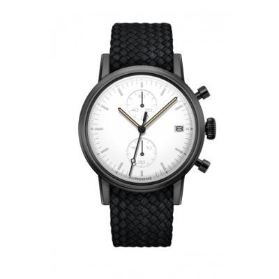 UNDONE MODERN WHITE メカクォーツ腕時計 【ブラックPVD コーティング パーロンベルト ブラック】