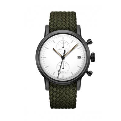 UNDONE MODERN WHITE メカクォーツ腕時計 【ブラックPVD コーティング パーロンベルト オリーブグリーン】