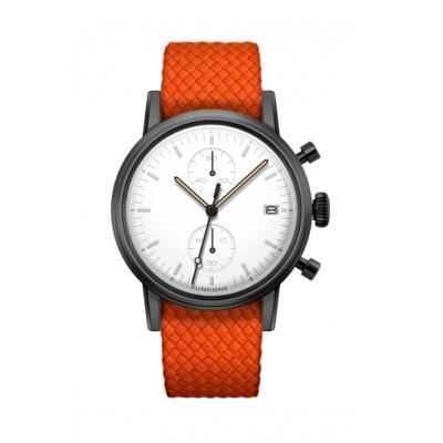 UNDONE MODERN WHITE メカクォーツ腕時計 【ブラックPVD コーティング パーロンベルト オレンジ】