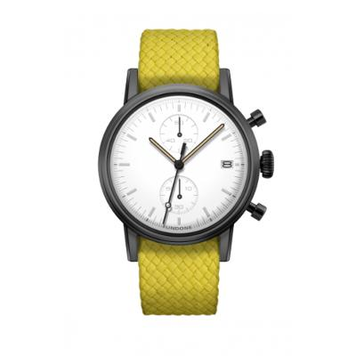 UNDONE MODERN WHITE メカクォーツ腕時計 【ブラックPVD コーティング パーロンベルト イエロー】