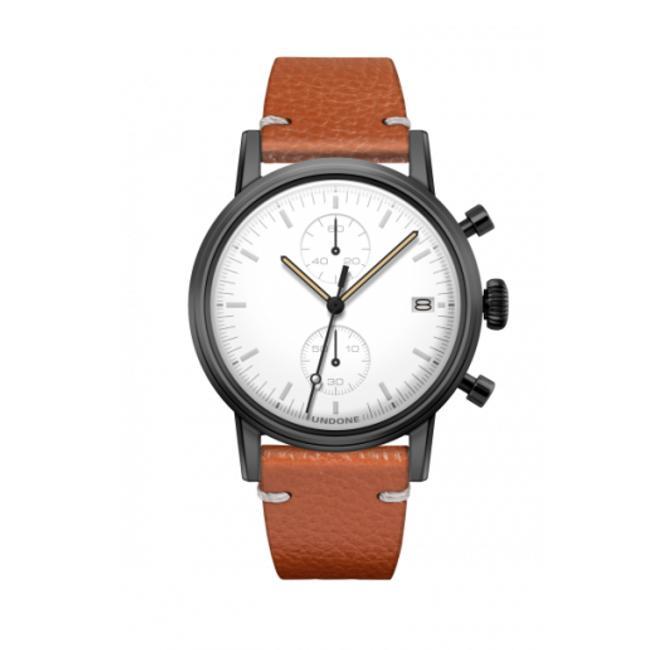 UNDONE MODERN WHITE メカクォーツ腕時計 【ブラックPVD コーティング キャビア ベルト ブラウン】
