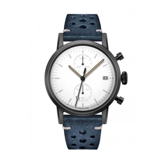 UNDONE MODERN WHITE メカクォーツ腕時計 【ブラックPVD コーティング ラリー ベルト ブルー】