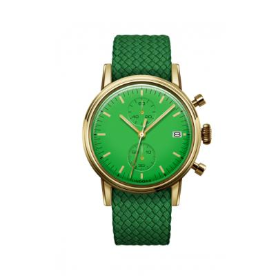 UNDONE MODERN GREEN メカクォーツ腕時計 【パーロンベルト ゴールド ケース】