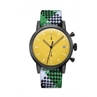 UNDONE MODERN イエロー メカクォーツ腕時計 【ブラックPVD コーティング パーロン ベルト グリーンブラックホワイト】