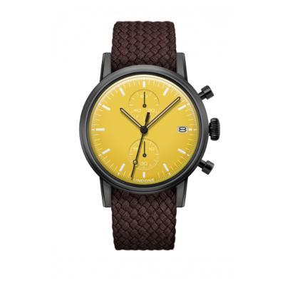 UNDONE MODERN イエロー メカクォーツ腕時計 【ブラックPVD コーティング パーロン ベルト ブラウン】