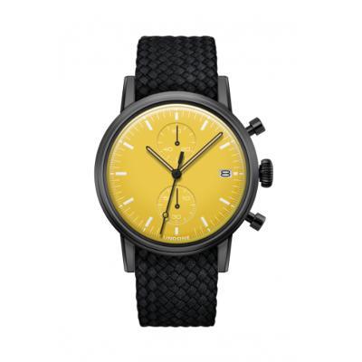 UNDONE MODERN イエロー メカクォーツ腕時計 【ブラックPVD コーティング パーロン ベルト ブラック】