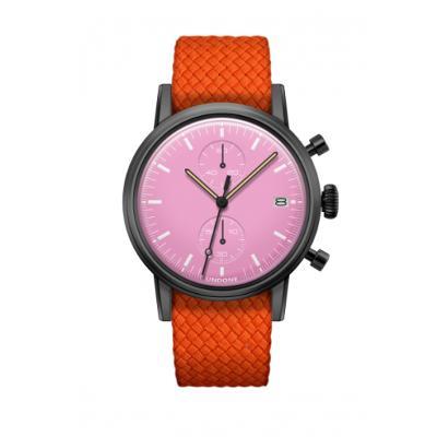 UNDONE MODERN ピンク メカクォーツ 腕時計 【ブラックPVD コーティング パーロンベルト オレンジ】