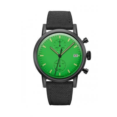 UNDONE MODERN グリーン メカクォーツ腕時計 【ブラックPVDコーティング ケース コーデュラベルト ブラック】