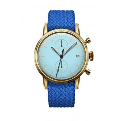 UNDONE MODERN パステルブルー メカクォーツ 腕時計 【ゴールドPVDケース パーロンベルト ブルー】