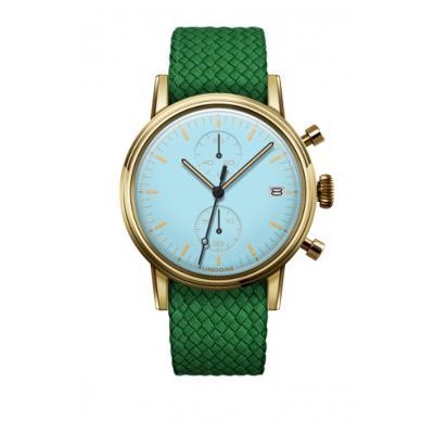 UNDONE MODERN パステルブルー メカクォーツ 腕時計 【ゴールドPVDケース パーロンベルト グリーン】