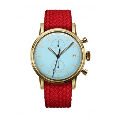 UNDONE MODERN パステルブルー メカクォーツ 腕時計 【ゴールドPVDケース パーロンベルト レッド】