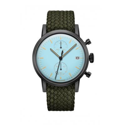 UNDONE MODERN パステルブルー メカクォーツ 腕時計 【ゴールドPVDケース パーロンベルト オリーブグリーン】