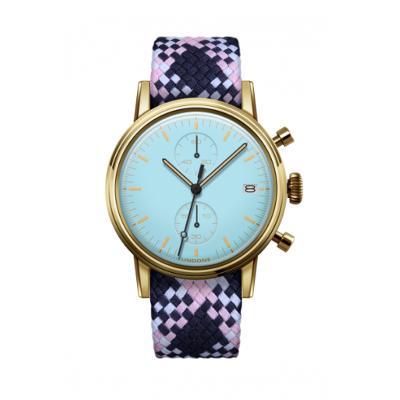 UNDONE MODERN パステルブルー メカクォーツ 腕時計 【ゴールドPVDケース パーロンベルト ピンクネイビーホワイト】