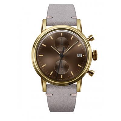 UNDONE URBAN CLASSIC Brown sunray 腕時計 メカクォーツ 【ゴールドケース カーフレザーベルト ライトグレー】