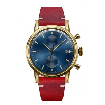 UNDONE URBAN CLASSIC Blue sunray 腕時計 メカクォーツ 【ゴールドケース カーフレザーベルト レッド】