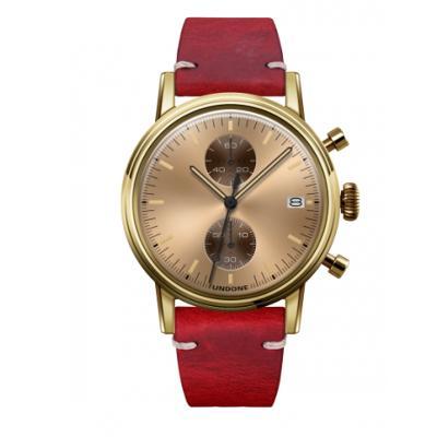 UNDONE URBAN CLASSIC Gold sunray 腕時計 メカクォーツ 【ゴールドケース カーフレザーベルト レッド】
