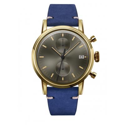 UNDONE URBAN CLASSIC Grey sunray 腕時計 メカクォーツ 【ゴールドケース カーフレザーベルト ブルー】