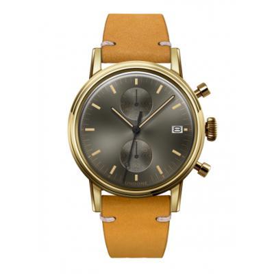 UNDONE URBAN CLASSIC Grey sunray 腕時計 メカクォーツ 【ゴールドケース カーフレザーベルト イエロー】