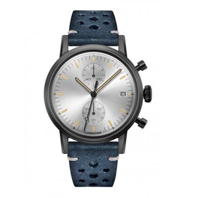 UNDONE URBAN CLASSIC Silver sunray 腕時計 メカクォーツ 【ブラックケース ラリーベルト ブルー】