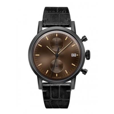 UNDONE URBAN CLASSIC Brown sunray 腕時計 メカクォーツ 【ブラックケース アリゲーターレザーベルト ブラック】