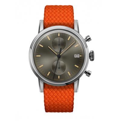 UNDONE URBAN CLASSIC Grey sunray 腕時計 メカクォーツ 【ステンレスケース パーロンベルト オレンジ】