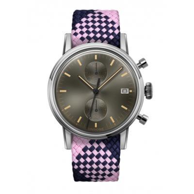 UNDONE URBAN CLASSIC Grey sunray 腕時計 メカクォーツ 【ステンレスケース パーロンベルト ピンクネイビー】