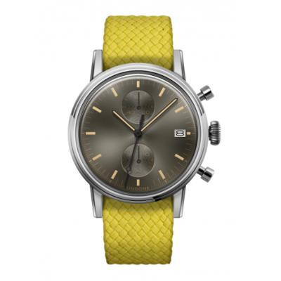 UNDONE URBAN CLASSIC Grey sunray 腕時計 メカクォーツ 【ステンレスケース パーロンベルト イエロー】