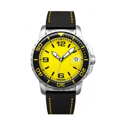 UNDONE AQUA STANDARD 腕時計【自動巻機械式 スレンレス シルバーケース 強化ガラス イエローブラック ホーウィンレザーベルト】
