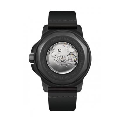 UNDONE AQUA STANDARD 腕時計 自動巻機械式 ブラックケース 強化ガラス イエローブラック ホーウィンレザーベルトsCrhtQdBx
