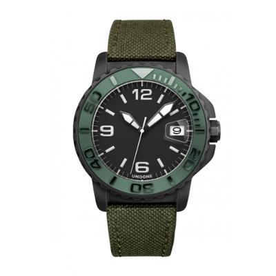 UNDONE AQUA STANDARD 腕時計【自動巻機械式 アクアブラックケース セラミック カーキ コーデュラベルト グリーン】