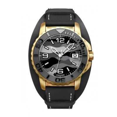 UNDONE AQUA STANDARD 腕時計 迷彩【自動巻機械式 アクア ゴールドケース セラミック ブラック ミリタリーバンドベルト ブラック】