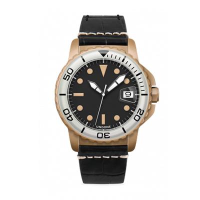 UNDONE AQUA CERAKOTE 腕時計【自動巻機械式 サンドケース 強化鉱物ガラス ホワイト アリゲーターレザー ブラック】