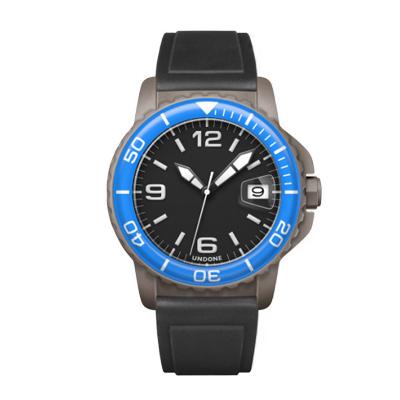 UNDONE AQUA CERAKOTE 腕時計 【自動巻機械式 セラコーテ グレーケース 強化鉱物ガラス ブルー ラバーベルト ブラック】