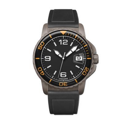 UNDONE AQUA CERAKOTE 腕時計【自動巻機械式 セラコーテ グレーケース 強化鉱物ガラス オレンジ ラバーベルト ブラック】