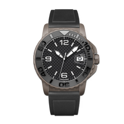 UNDONE AQUA CERAKOTE 腕時計【自動巻機械式 セラコーテ グレー セラミック ブラック ラバーベルト】