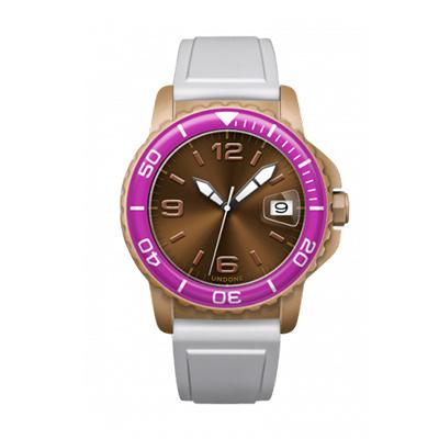 UNDONE AQUA CERAKOTE 腕時計【自動巻機械式 セラコーテ サンドケース 強化鉱物ガラス パープル ラバーベルト ホワイト】