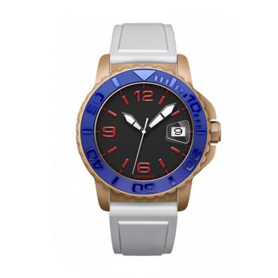 UNDONE AQUA CERAKOTE 腕時計【自動巻機械式 セラコーテ サンド セラミック ブルー ラバーベルト ホワイト】