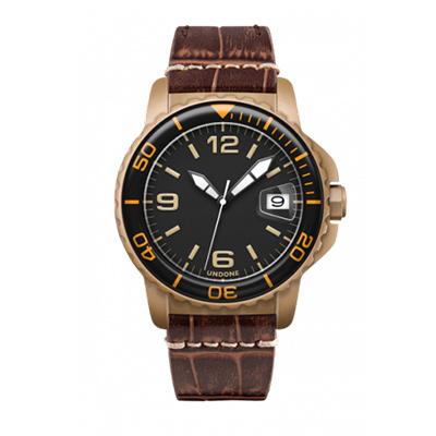 UNDONE AQUA CERAKOTE 腕時計【自動巻機械式 セラコーテ サンドケース K1強化鉱物ガラス オレンジ アリゲーターベルト ブラウン】