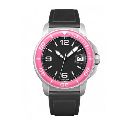UNDONE AQUA CERAKOTE 腕時計【自動巻機械式 セラコーテ ホワイト 強化鉱物ガラス ピンク ラバーベルト】