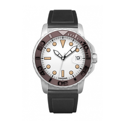 UNDONE AQUA CERAKOTE 腕時計【自動巻機械式 セラコーテ ホワイト セラミック ブラウン ラバーベルト 黒】