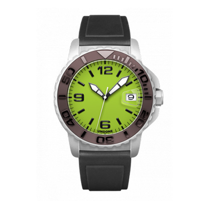 UNDONE AQUA CERAKOTE 腕時計【自動巻機械式 セラコーテ ホワイトケース セラミック ブラウン ラバー】