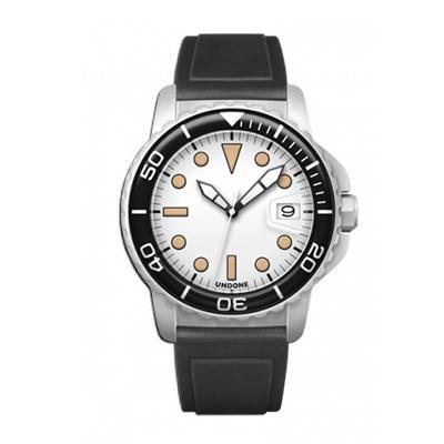 UNDONE AQUA CERAKOTE 腕時計【自動巻機械式 セラコーテ ホワイトケース 強化鉱物ガラス ブラック ラバーベルト】