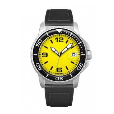 UNDONE AQUA CERAKOTE 腕時計 イエロー【自動巻機械式 セラコーテ ホワイト K1強化鉱物ガラス ブラック ラバーベルト】