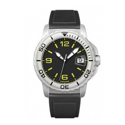 UNDONE AQUA CERAKOTE 腕時計 ブラック イエロー【自動巻機械式 セラコーテ ホワイト K1強化鉱物ガラス 白 ラバーベルト】